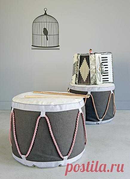 Идея пуфика-барабана! (Описание по клику на картинку).