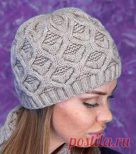 шикарная теплая зимняя женская шапка спицами схема вязания сегодня