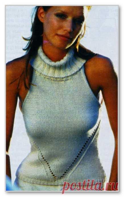 Вязание спицами. Женские летние модели. Однотонная безрукавка с американской проймой и воротником гольф. Размеры: 34-36 (38-40)