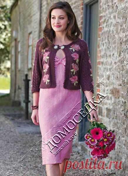 вязаный жакет с цветами | Knitting