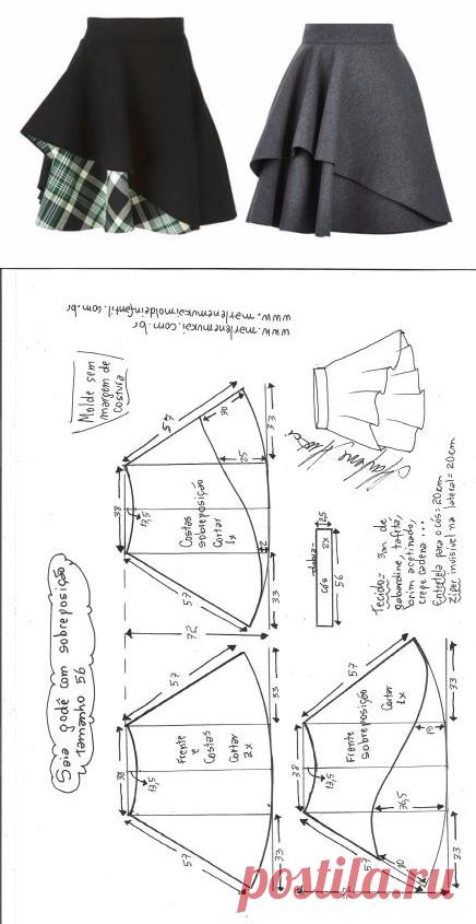 Юбка с пелериной. Выкройка на евро размеры 36-56