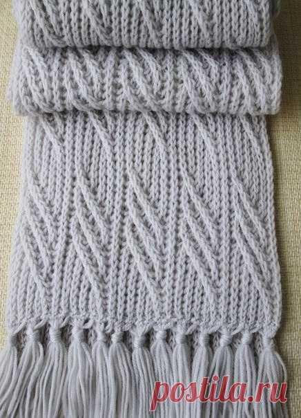 Вязание спицами шарф мужской схема спицами