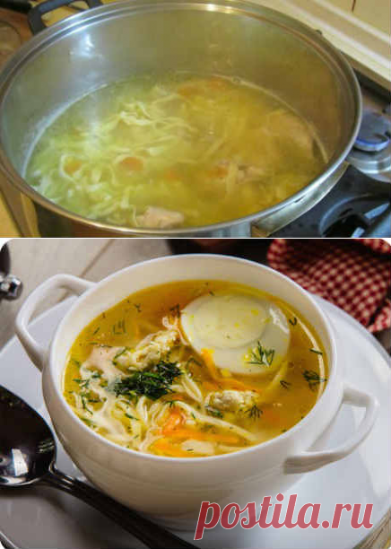 Суп-лапша с курицей по домашнему, рецепт без картошки