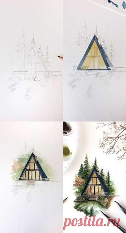 Рисуем домик среди елок — Сделай сам, идеи для творчества - DIY Ideas