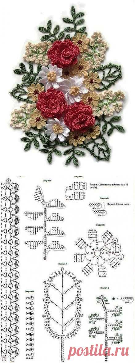 How to crochet a bouquet of flowers. Crochet bouquet pattern | Laboratory household