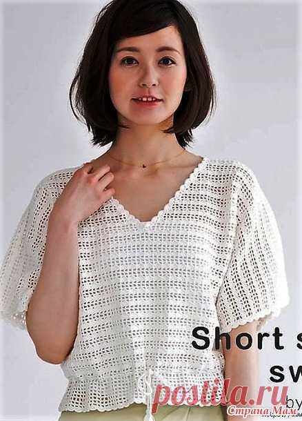 Белый пуловер с ажурным узором на филейной сетке. - Все в ажуре... (вязание крючком) - Страна Мам
