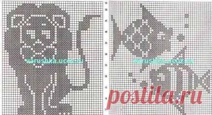 филейное вязание животных схемы вязания крючок и спицы вязание