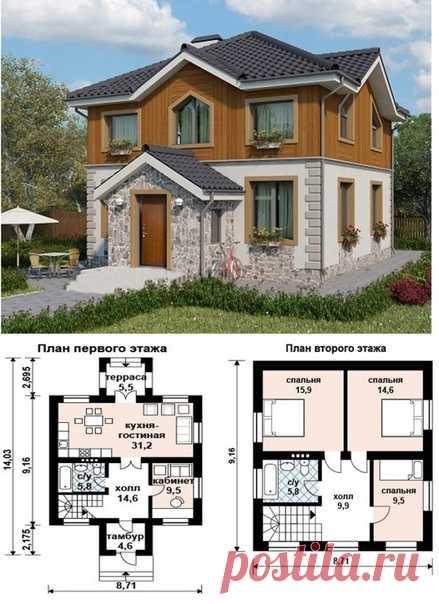 Планировка двухэтажного загородного дома 110 кв.м