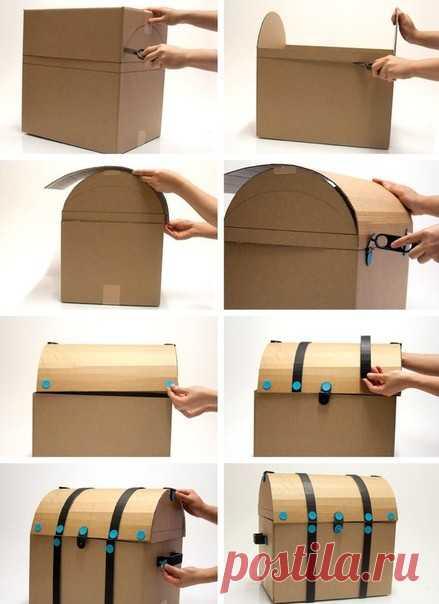 Сундук из картонной коробки