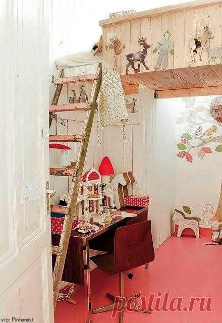 Детская: экономим пространство - кровать на втором этаже