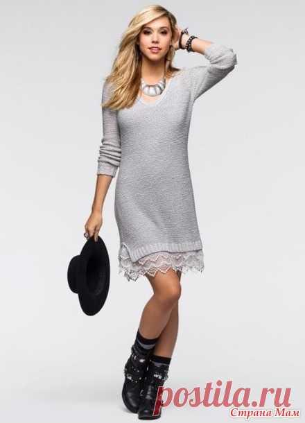 606d7fee247 Платье-реглан спицами с кружевом внизу - Вязание - Страна Мам ...