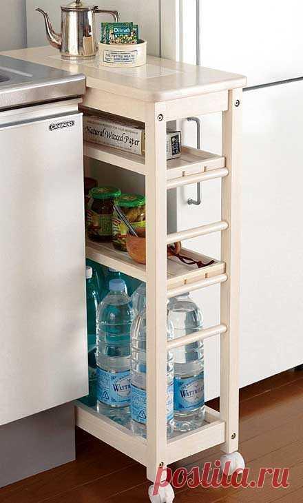 Идеи для маленькой кухни — с толком и удовольствием используем место у холодильника Предлагаем вам полезные идеи для маленькой кухни, в которых показано как практично можно использовать небольшое пространство между мойкой и холодильником.  Выдвижные секции на колесиках позволят немно…