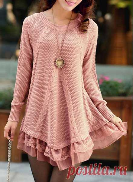 Stylish Scoop Neck Long Sleeve Solid Color Laciness Sweater For Women (PINK,L) | Sammydress.com