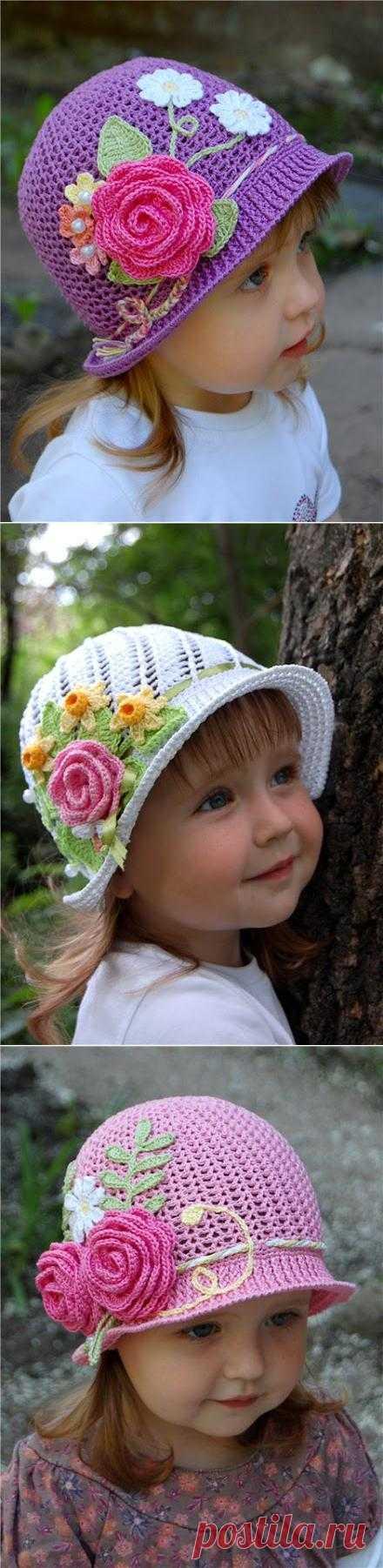 Вяжем чудесные летние шляпки-панамки для девочек.