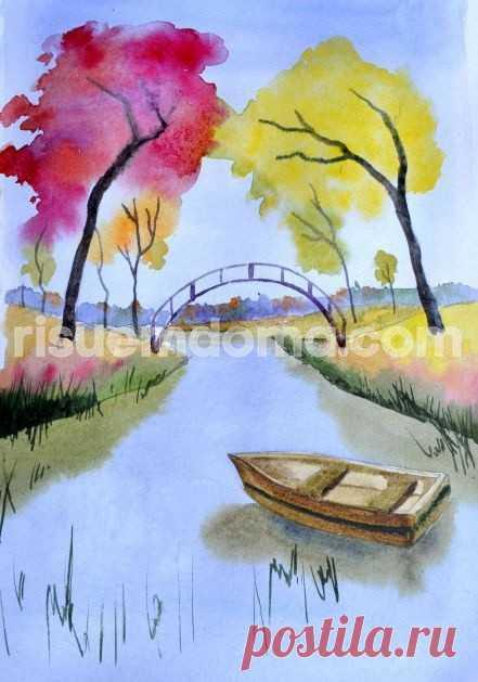 Рисуем реку и лодку