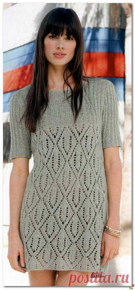 Вязаное спицами прямое платье с ажуром — HandMade