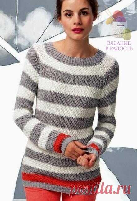 Модный полосатый пуловер (Вязание спицами) – Журнал Вдохновение Рукодельницы