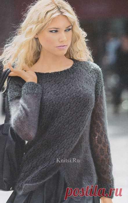 Пуловер с эффектом запаха из тонкого мохера