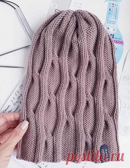 Простая и симпатичная шапочка (Вязание спицами) – Журнал Вдохновение Рукодельницы