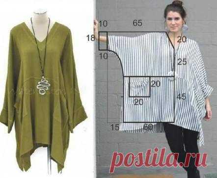 Блузка годе. Выкройка #blousesewingpattern - Uhabti