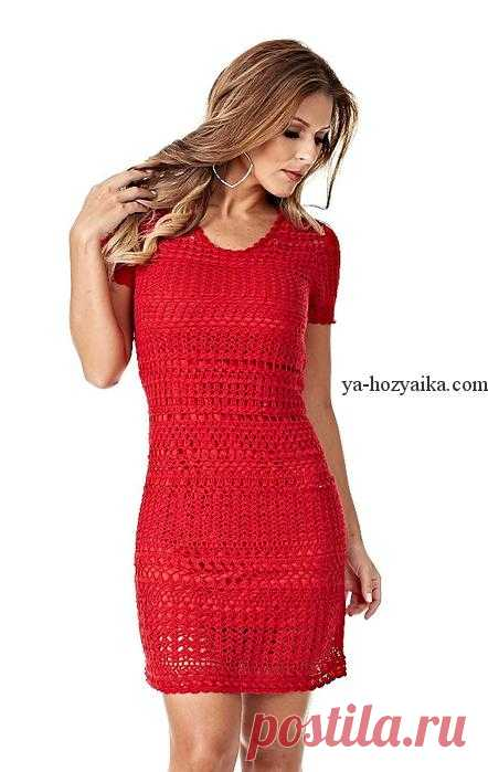 Ажурное платье крючком со схемами. Коктейльное платье ...