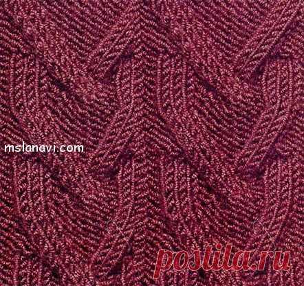 Рельефный узор спицами №22   Вяжем с Лана Ви