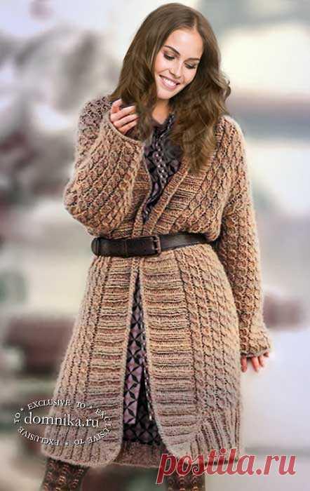 Вязание спицами кардигана с косами - вязаная модель для полных женщин