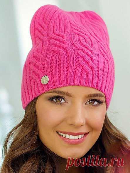 шапочка изабель спицами с красивым узором вязание шапок модные и