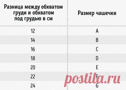 Как определить размер бюстгальтера и чашечки: удобная и понятная таблица