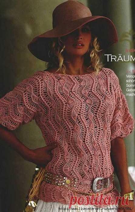 Потрясающий пуловер связаный на вилке