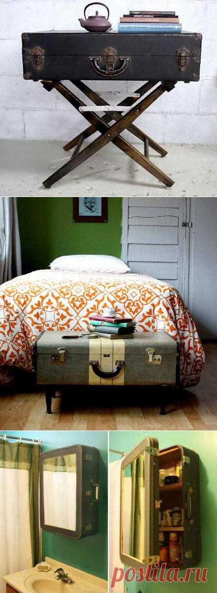 Чемоданное настроение, или как использовать старый чемодан - чайный или прикроватный столик, тумбочка или полка для ванной - вариантов тысяча.