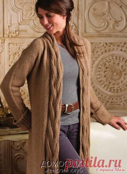 красивый длинный вязаный жакет от Nancy Rieck вязание спицами