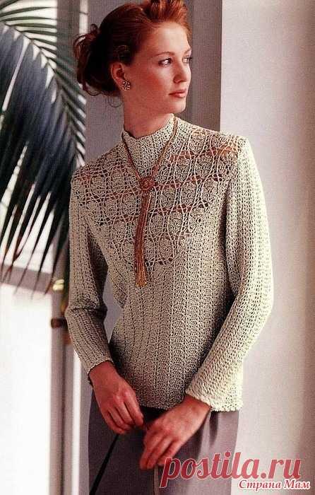 Ажурный свитер с красивой вставкой цветочным узором. Крючок Let's knit series NV3935