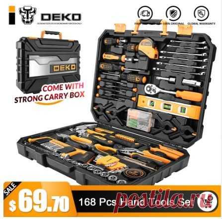DEKO 168 шт. ручной инструмент набор общие бытовые ручной набор инструментов с пластик Toolbox чехол для хранения отвертка с гаечным ключом