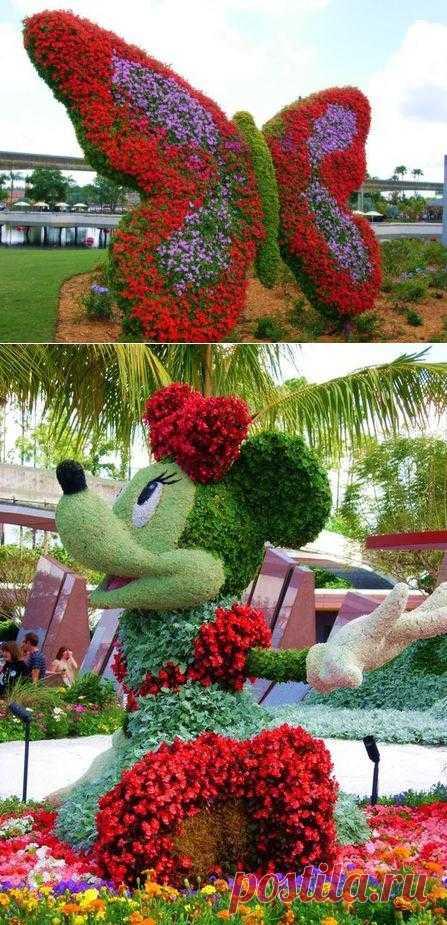 Цветочные персонажи.. Американский парк цветочных диснеевских персонажей.