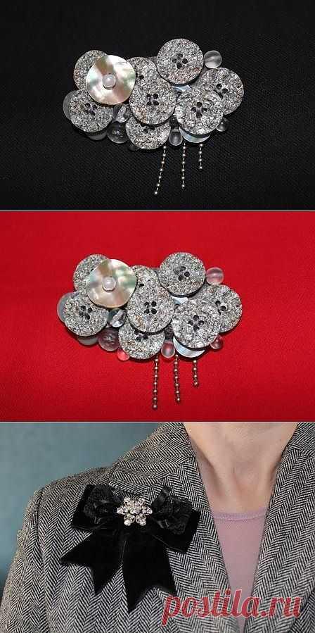 Пуговичная тучка- брошь и другие / Украшения и бижутерия / Модный сайт о стильной переделке одежды и интерьера