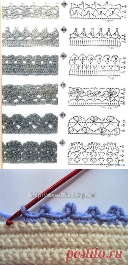 обвязка края крючком схемы техники рачий шаг пико ажур вязание