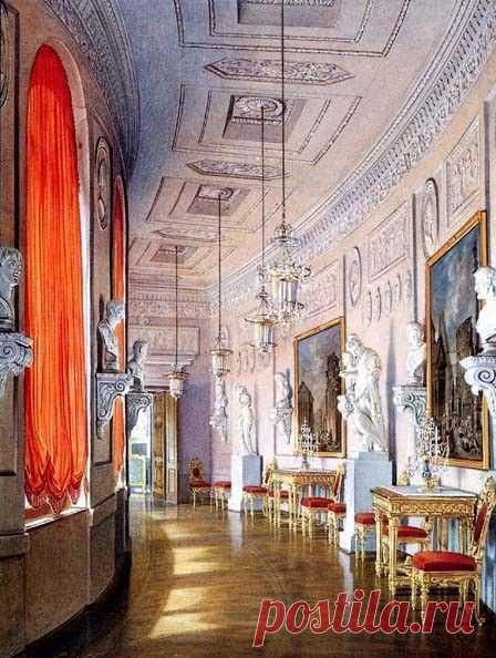 Gatchina Palace Greek Gallery in watercolors by Edward Hau.   Pinterest • el catálogo Mundial de las ideas