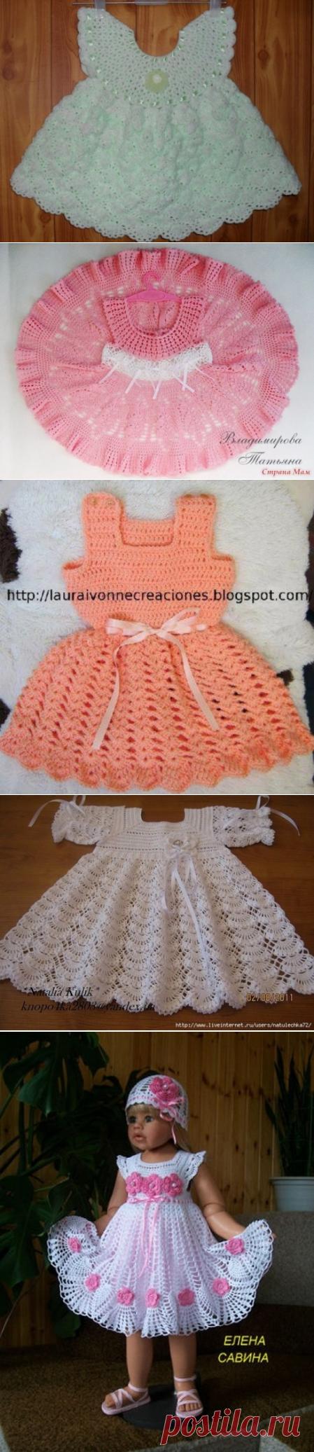 Los vestidos - el Modelo del niño de la labor de punto por el gancho
