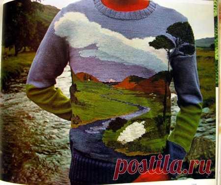 La idea para aquellos quien teje: el jersey con el paisaje.