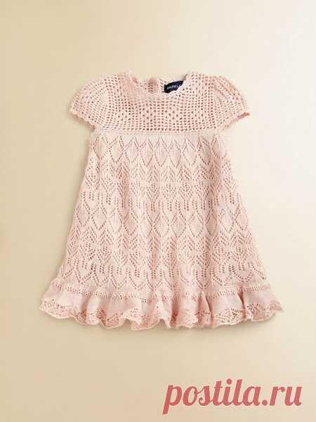 вязаное платье спицами на девочку 3 4 лет платье для девочки