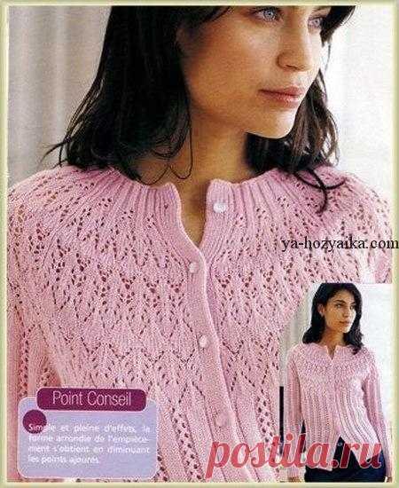 женская кофточка с круглой кокеткой спицами схема вязания ажурной