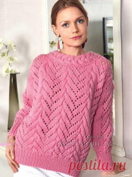 женский ажурный свитер вязаный спицами размер5052 для вязания