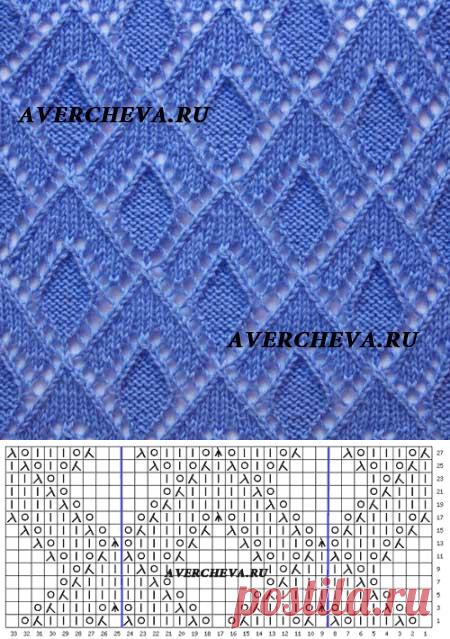Узор спицами 1013 | каталог вязаных спицами узоров