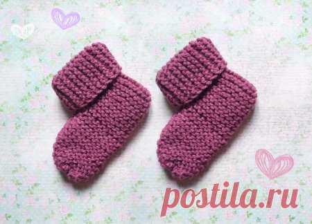 Самые простые детские носки на двух спицах