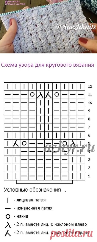 Ажурный узор спицами — схема и описание