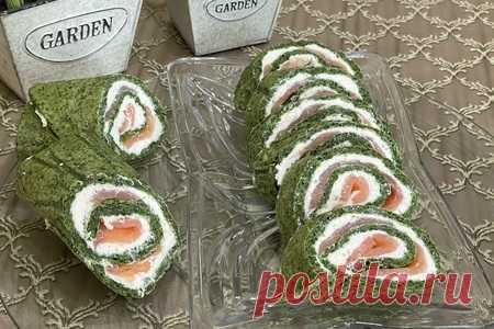 Рулет из шпината с лососем | Вкусные кулинарные рецепты