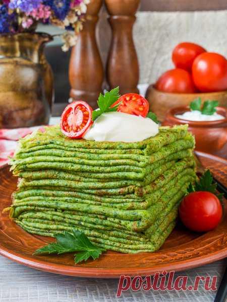 Рецепт тонких шпинатных блинчиков на Вкусном Блоге
