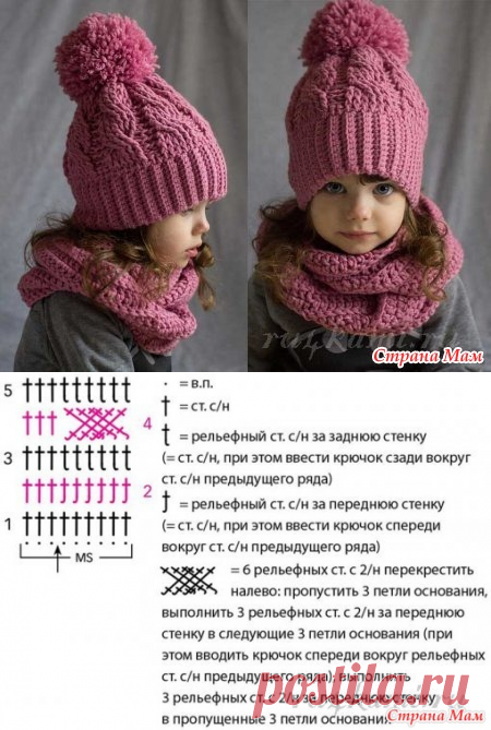 шапочка крючком для девочки вязание страна мам зимние шапки