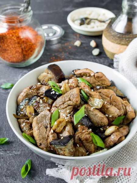 Рецепт жареной свинины с баклажанами и арахисом